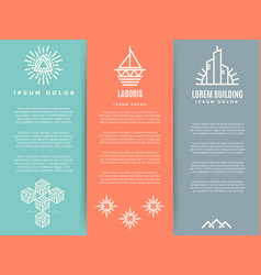 Vintage minimal geometric brochure flyers template vector