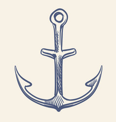 Vintage nautical anchor hand drawing marine vector