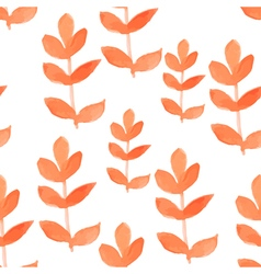 Watercolor red leaf seamless pattern vector