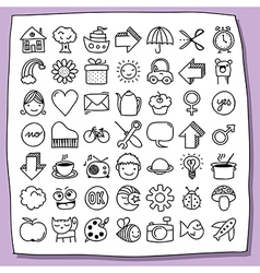 Childish doodle icon set vector image vector image