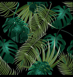 jungle thickets of tropical palm leaves seamless vector image