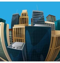 fisheye lens cityscape view city vector image
