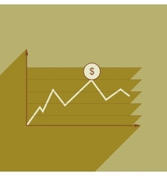 Flat web icon with long shadow financial vector image vector image