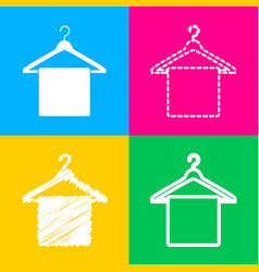 towel on hanger sign four styles of icon on four vector image