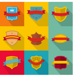 heraldic board icons set flat style vector image