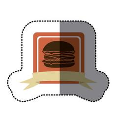 pink emblem hamburger fast food icon vector image