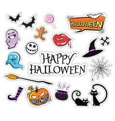 set of cartoon graphic design halloween icons vector image