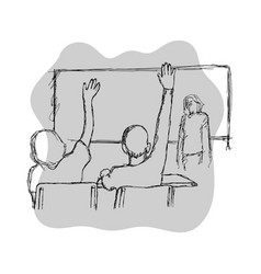 two students raising their hands in class for an vector image vector image