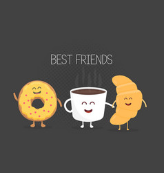 best friends coffee croissant and donut character vector image vector image