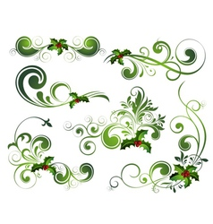 christmas floral elements vector image vector image