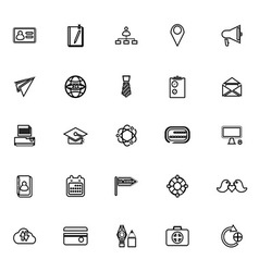 Contact connection line icons on white background vector image