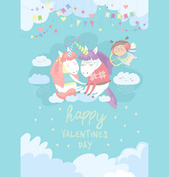 cute card with fairy unicorns in love vector image vector image