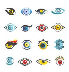 eyes icons templates isolated eye set vector image