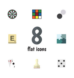 flat icon play set of jigsaw chequer ace and vector image vector image