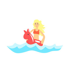 happy blond girl in red swimsuit having fun with vector image
