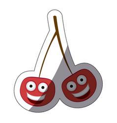 red kawaii happy cherrys icon vector image