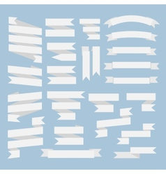 White ribbons set vector image