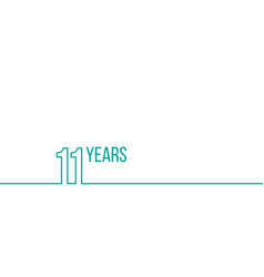 11 years anniversary or birthday linear outline vector