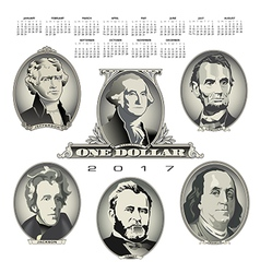 A 2017 calendar with Presidential oval bill elemen vector