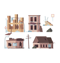 abandoned houses old trouble damaged facade vector image