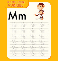 Alphabet tracing worksheet with letter m and m vector