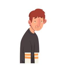 apathetic unhappy young man male character facial vector image