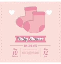 Baby Shower design socks icon pink vector image
