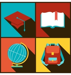 Background with education icons in flat design vector