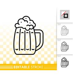 beer mug simple bar ware black line icon vector image