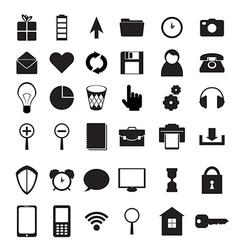 Black icons set vector image