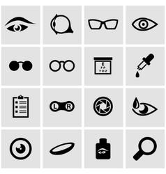 black optometry icon set vector image