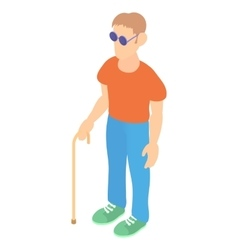 Blind man with a cane icon cartoon style vector