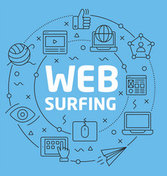 Blue line flat circle web surfing vector