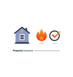 burning building fire insurance safety concept vector image vector image