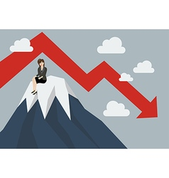 Business woman stuck on a top hill vector
