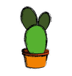 Cactus in a pot icon vector