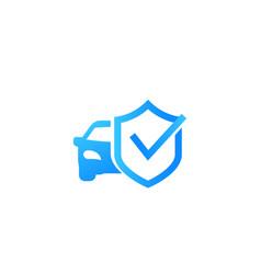 Car and shield icon mark vector