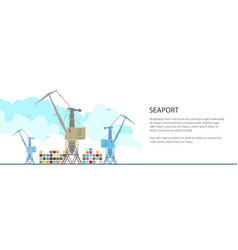 cargo cranes at the seaport banner vector image