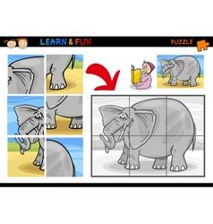 Cartoon elephant puzzle game vector