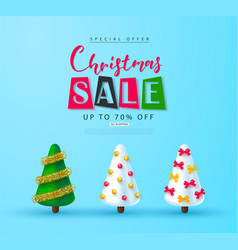 christmas sale web banner holiday background vector image