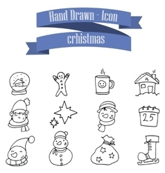 Christmas theme icons with hand draw vector