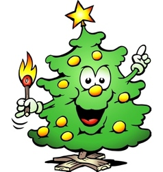 Christmas Tree With a match vector image