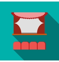 Cinema stage with red curtains icon flat style vector