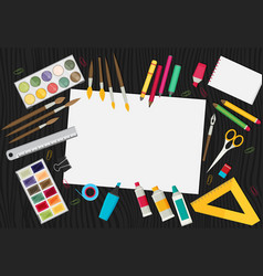 colored flat design of art supplies and art vector image