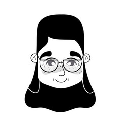 Contour old woman face with hairstyle and glasses vector