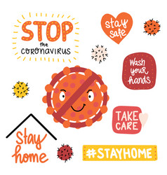 coronavirus letterings and icons stay home stop vector image
