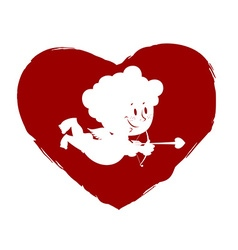 Cupid in heart Logo for Valentines day vector