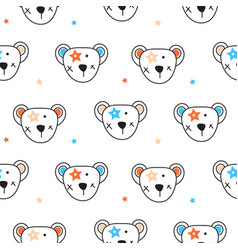 cute bear heads and stars seamless pattern vector image