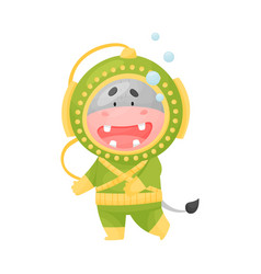 Cute hippo wearing diving suit scuba diving vector