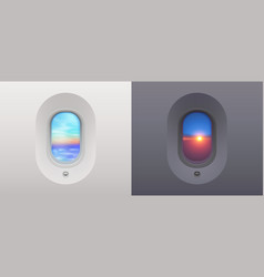 day and night plane windows views to blue sky vector image